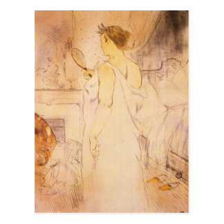 Woman with mirror by Toulouse-Lautrec Postcard