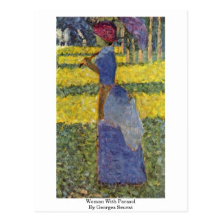 Woman With Parasol By Georges Seurat Postcard