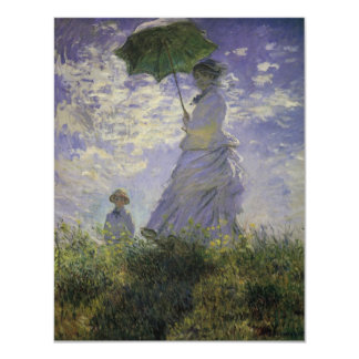 """Woman with Parasol by Monet, Vintage Impressionism 4.25"""" X 5.5"""" Invitation Card"""