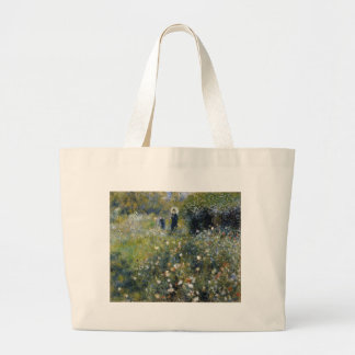 Woman with Parasol in a Garden Large Tote Bag
