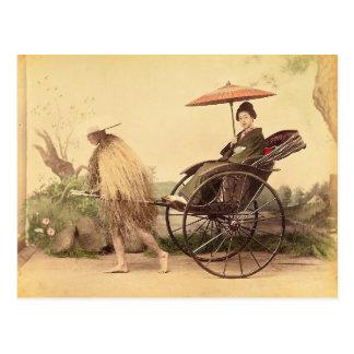 Woman with Parasol, Japan Vintage Postcard