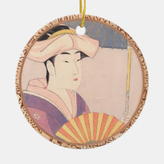 Woman with Parasol Kitagawa Utamaro japanese lady Round Ceramic Ornament