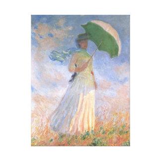 Woman with Parasol Monet Fine Art Canvas Print