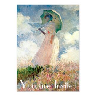 "Woman with Parasol Promenade Monet 4.5"" X 6.25"" Invitation Card"