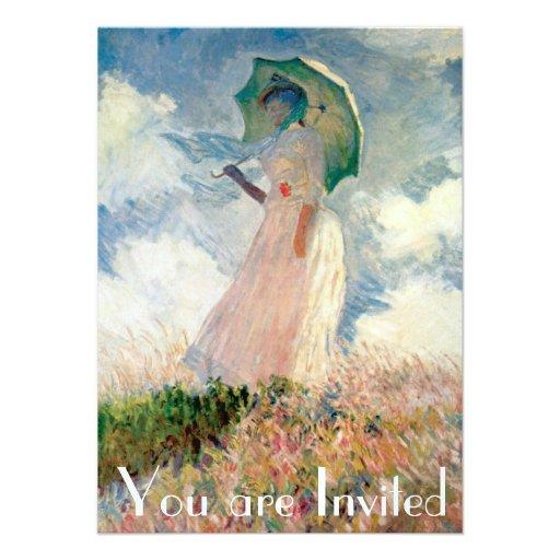 Woman with Parasol Promenade Monet Custom Invitations