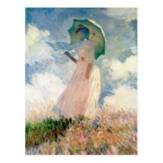 Woman with Parasol Promenade Monet Postcard
