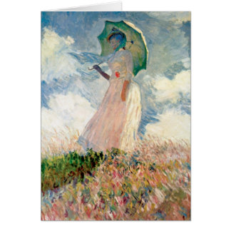 Woman With Parasol Study By Claude Monet Card