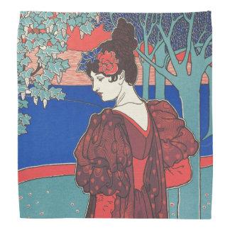 Woman With Peacocks Art Nouveau Vintage Fine Art Bandannas