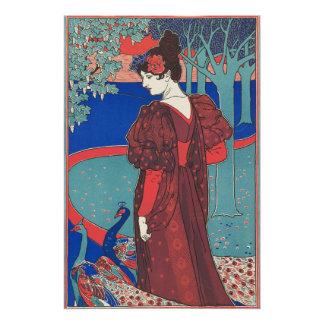 Woman With Peacocks Art Nouveau Vintage Fine Art Perfect Poster