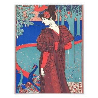 Woman With Peacocks Art Nouveau Vintage Fine Art Photo