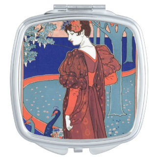 Woman with Peacocks Travel Mirrors