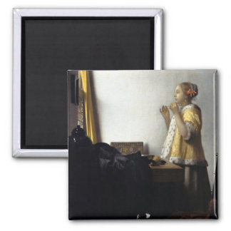 Woman with Pearl Necklace by Johannes Vermeer Magnet