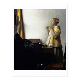 Woman with Pearl Necklace by Johannes Vermeer Postcard