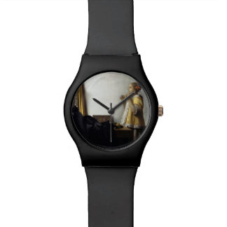Woman with Pearl Necklace by Johannes Vermeer Wrist Watches