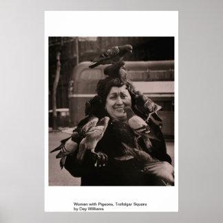 Woman with Pigeons, Trafalgar Square Poster
