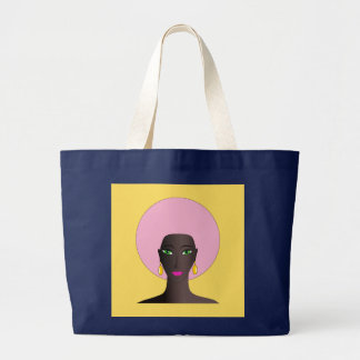 Woman With Pink Afro and Green Eyes Abstract Art Large Tote Bag