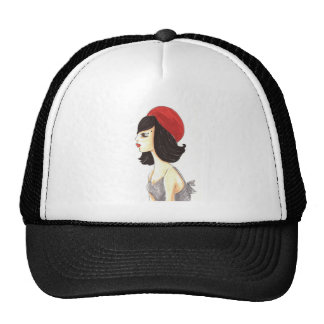Woman with Red Barret Mesh Hat