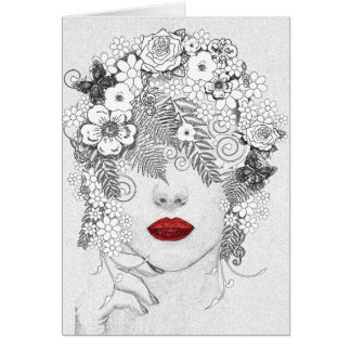 Woman with Red Lips Greeting Card