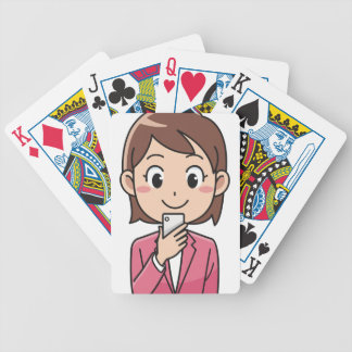 Woman with Smartphone Bicycle Playing Cards