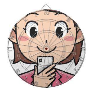 Woman with Smartphone Dartboard