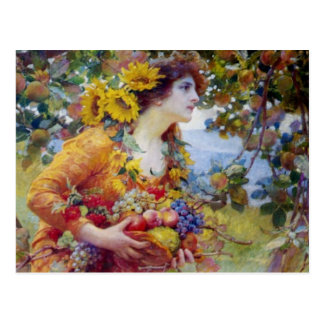 Woman with Summer Bounty Postcard