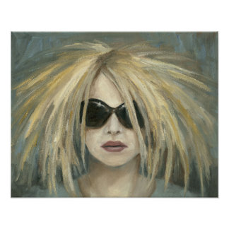 Woman with Sunglasses & Big Hair Oil Painting Poster