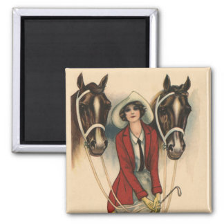 Woman with Two Horses magnet