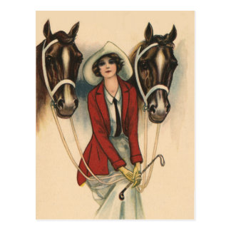 Woman with Two Horses Postcard