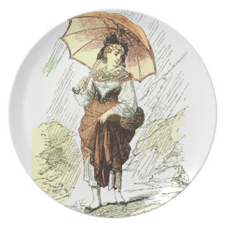Woman with Umbrella in the Rain, vintage Dinner Plates