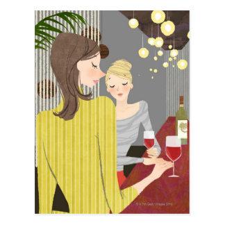 Woman with Wine Postcard