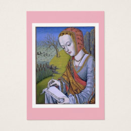 Art history business cards business card printing zazzle ca woman writing a letter medieval illustration business card reheart Choice Image