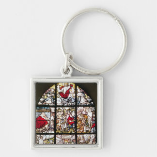 Woman Writing in the Court of Shah Abbas I Silver-Colored Square Keychain