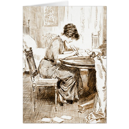 Woman Writing Letters 1911 Card