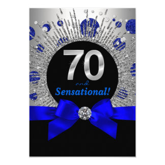 """Womans 70th Birthday Party Royal Blue and Silver 5"""" X 7"""" Invitation Card"""