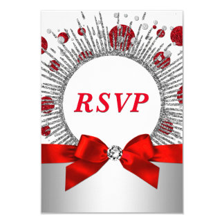 Womans 70th Birthday Party RSVP Red Silver Card