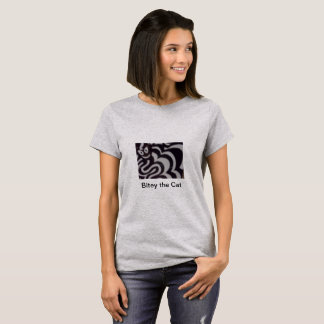 Woman's basic white t-shirt with cat and Rat