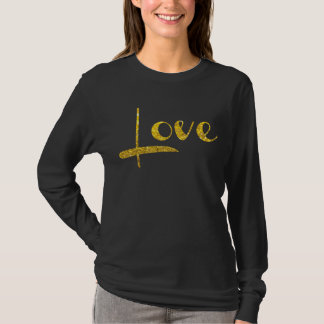 *~* Woman's Black and Gold Sparkling LOVE T-Shirt
