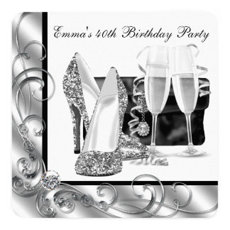 Womans Black and White Birthday Party Card