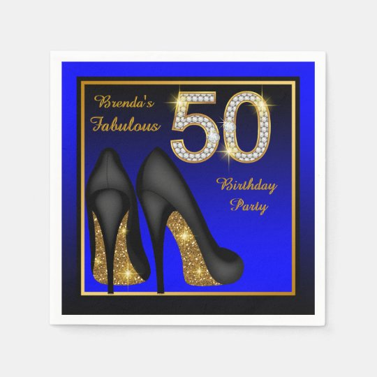 Womans Blue and Gold 50th Birthday Party Paper Napkins