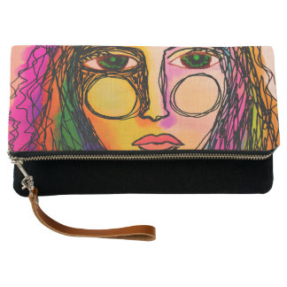 Woman's Face Abstract Art Foldover Wristlet Clutch