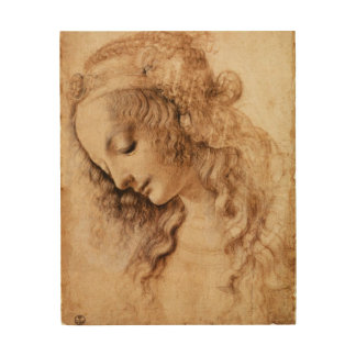 Woman's Head by Leonardo da Vinci Wood Print