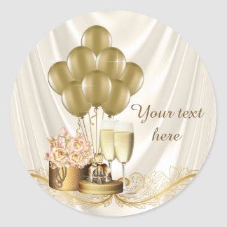 Womans Ivory and Gold Champagne Birthday Party Classic Round Sticker