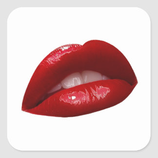Woman's Luscious Red Lipstick Lips Square Sticker