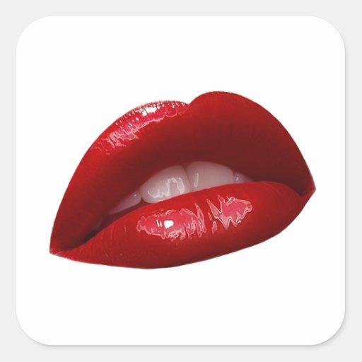 Woman's Luscious Red Lipstick Lips Square Sticker