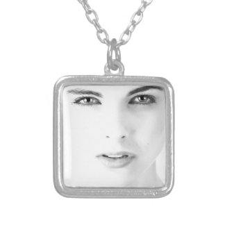 Woman's models face silver plated necklace