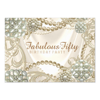 Womans Pearl Birthday Party Card