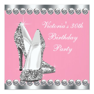 Womans Pink and Silver Birthday Party Card