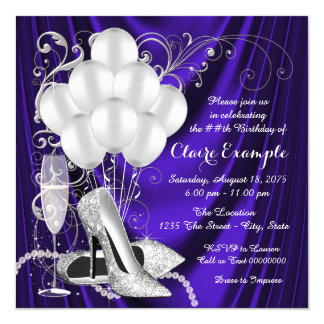 Womans Purple and Silver Birthday Party Luxe Card