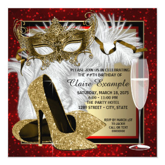 """Womans Red and Gold Masquerade Birthday Party 5.25"""" Square Invitation Card"""