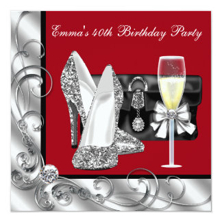 """Womans Red Birthday Party 5.25"""" Square Invitation Card"""
